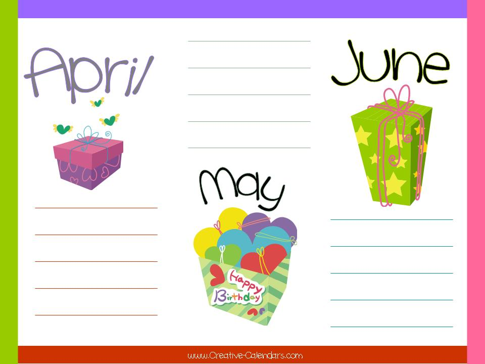 Birthday calendar for the months April, May and June