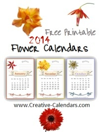 Free printable 2014 flower calendars