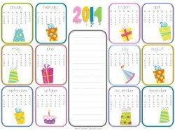 birthday calendar 2014