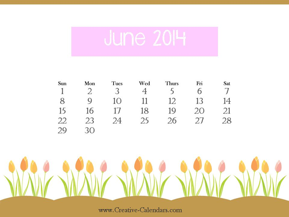 Cute June 2014 Printable Calendar Cute June 2014 Calendar