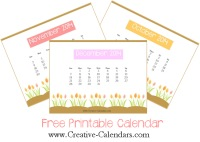 Calendar Templates with pictures of tulips