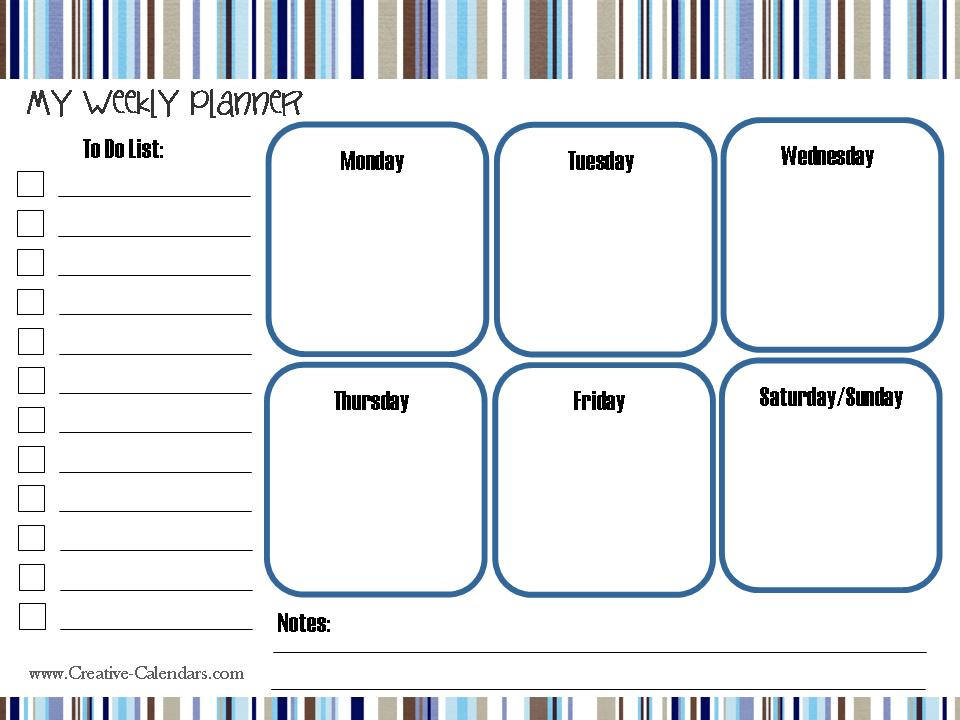 Weekly Calendar For Toddlers : Free printable weekly planner