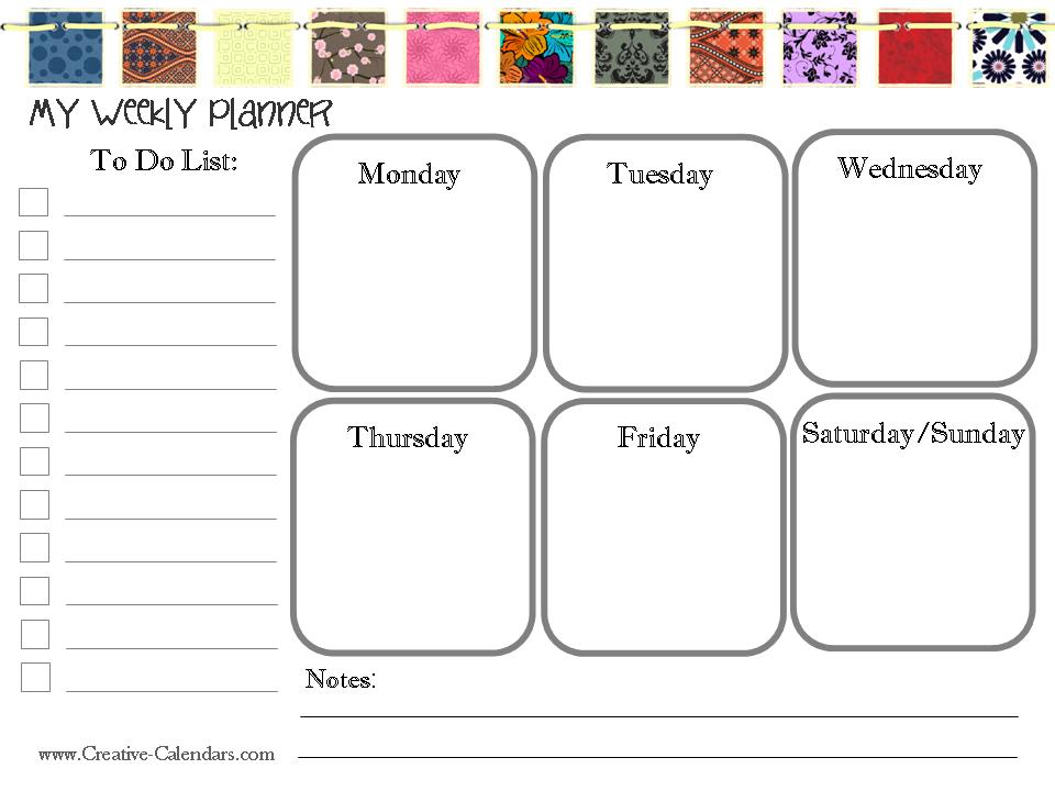 kids weekly schedule template - free printable weekly planner