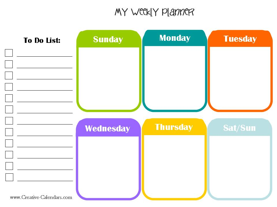 Free printable weekly planner for Activity timetable template