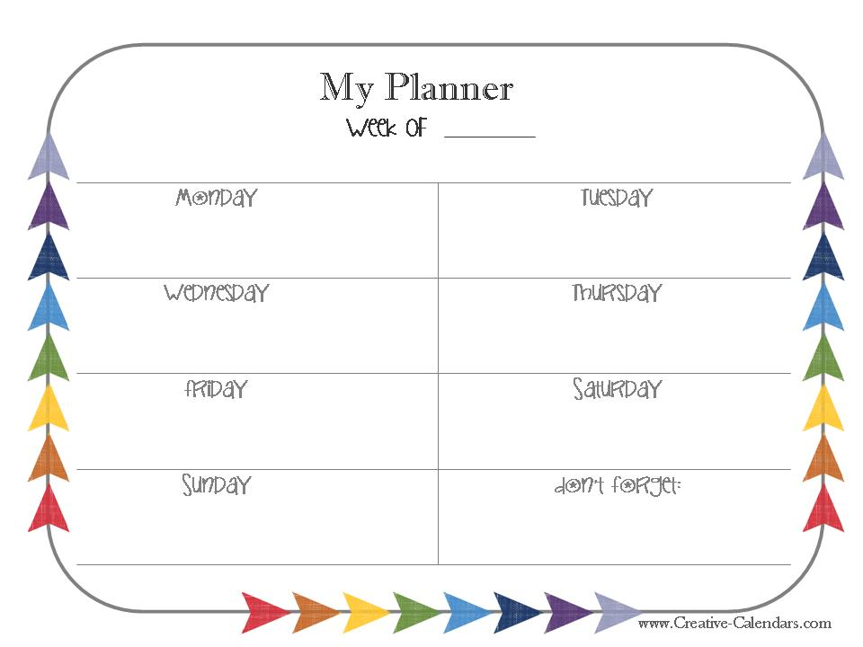 My planner - Monday to Sunday
