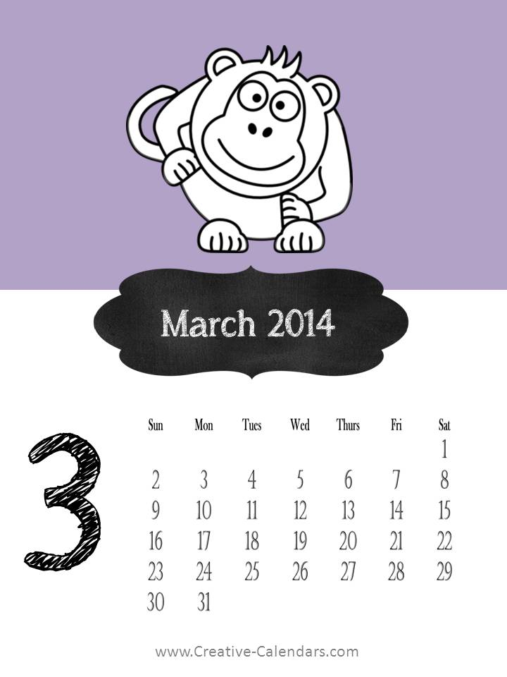 Cute March 2014 Calendar Printable Tumblr Cute March 2014