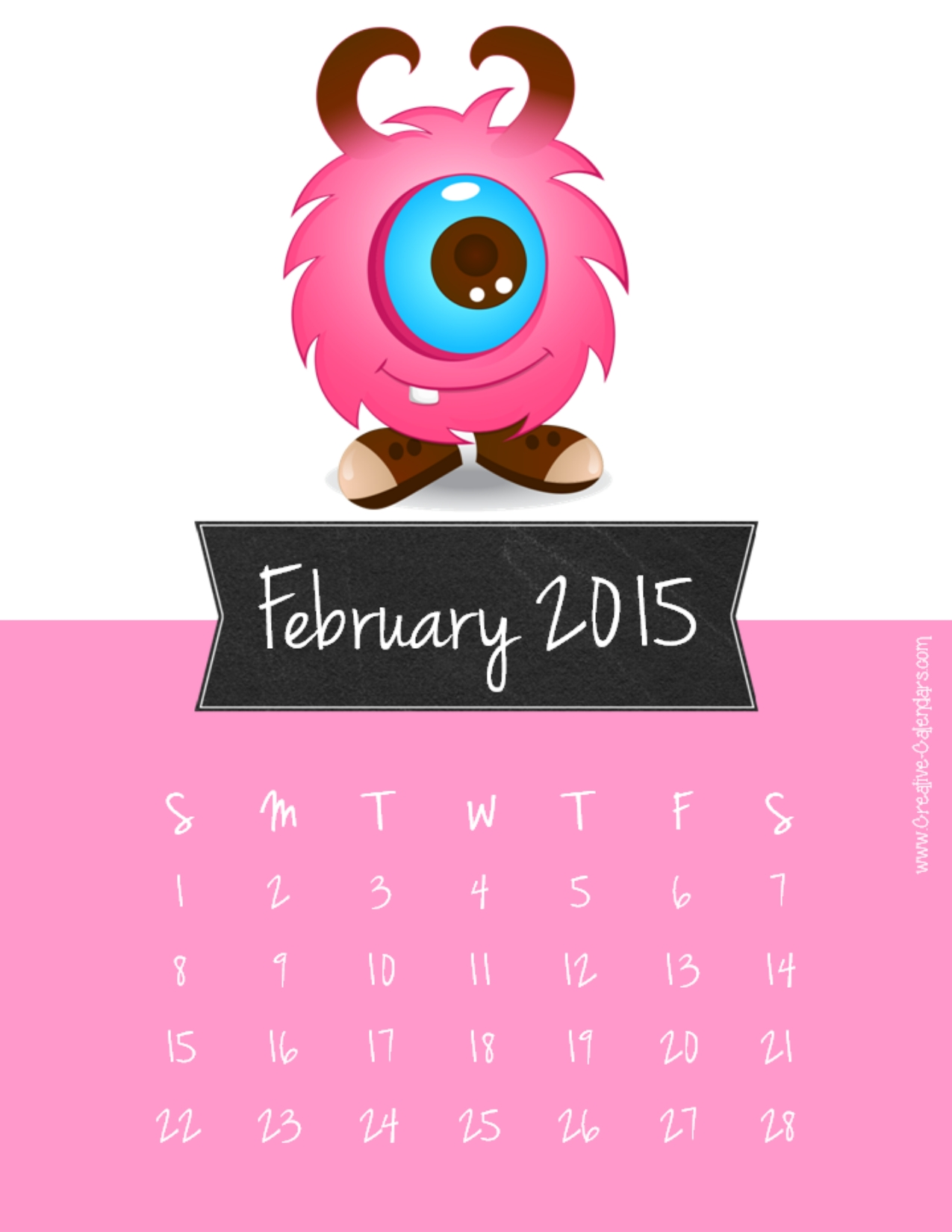 February 2015 printable calendar with a pink background
