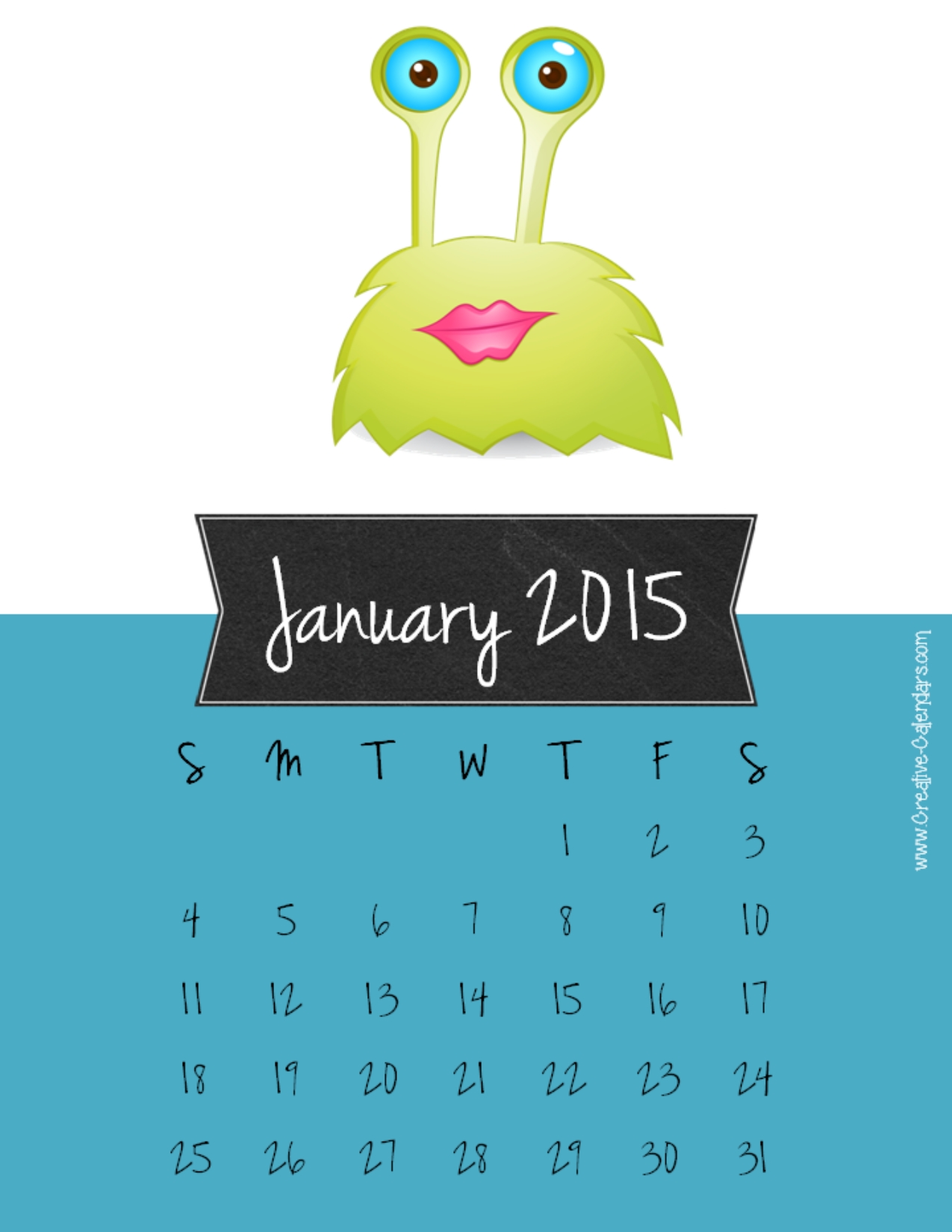 Monthly January 2015 calendar with a blue background and a cute green ...
