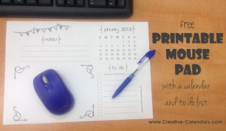 graphic regarding Printable Mouse Pad titled Printable Mouse Pad Planner with Calendar and Toward Do Listing