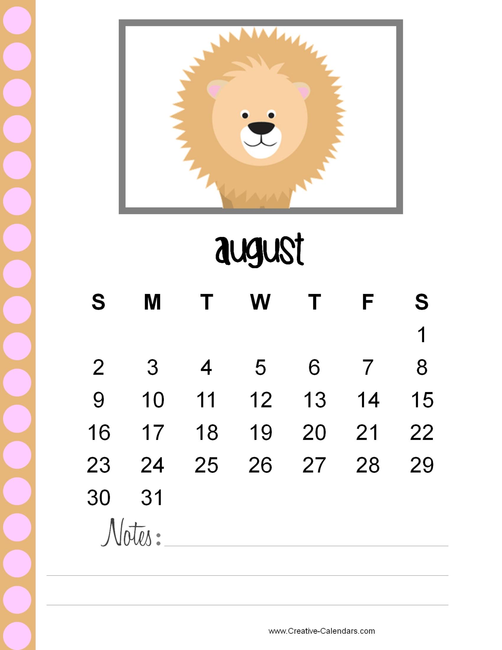 cute printable calendar with animals