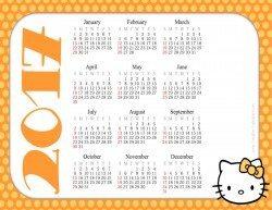 Printable Calendar Template with Hello Kitty