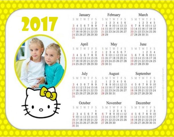 Printable Calendar With A Yellow Border