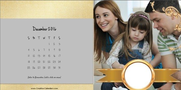 Gold personalized printable calendar