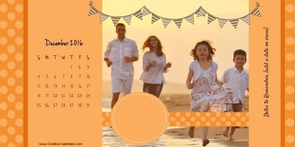 Free printable photo calendar that can be made with our online photo calendar maker