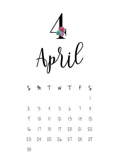 Calendar April Png : Minimilistic calendar creative calendars