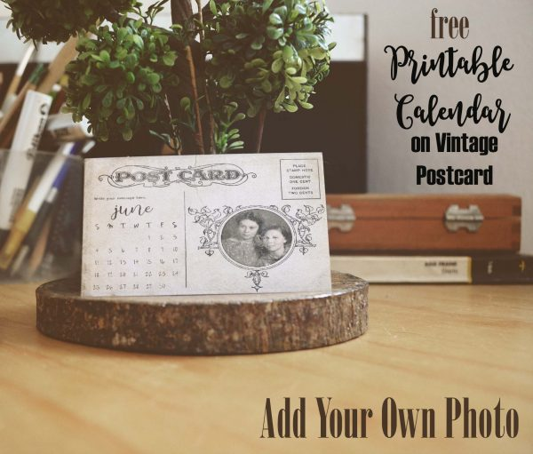 Printable calendar on a post card