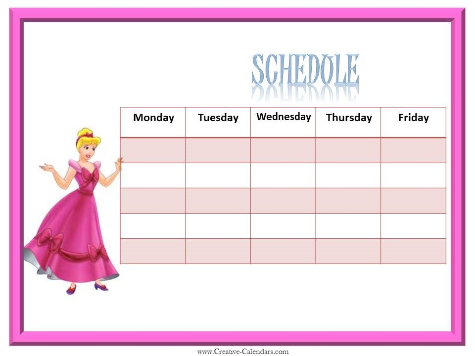 Free Weekly Calendars for Girls