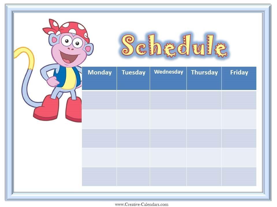 Weekly Calendar Cartoon : Printable weekly calendar