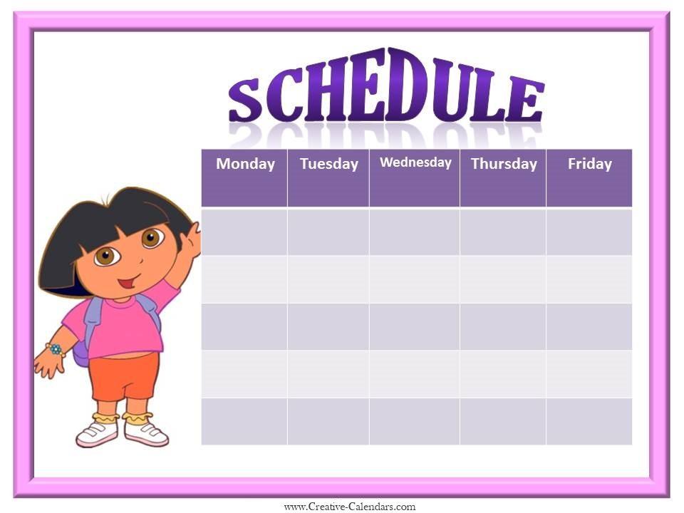 Dora printable weekly calendar