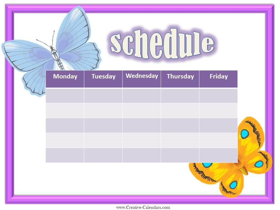 Free Weekly Calendar Template With 2 Butterflies  Free Week Calendar Template