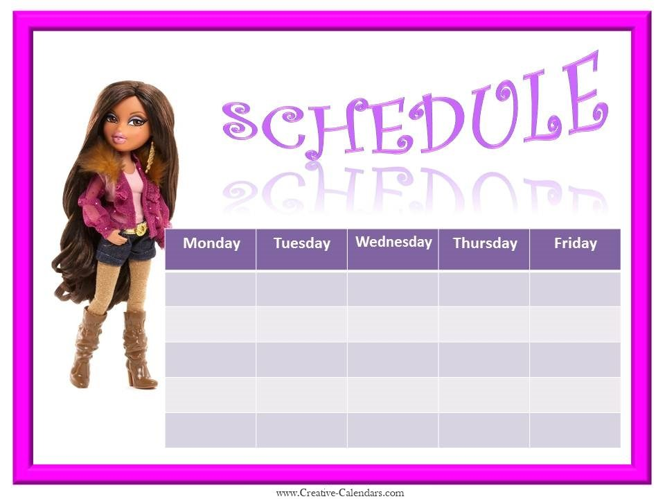 weekly schedule template with a picture of Bratz