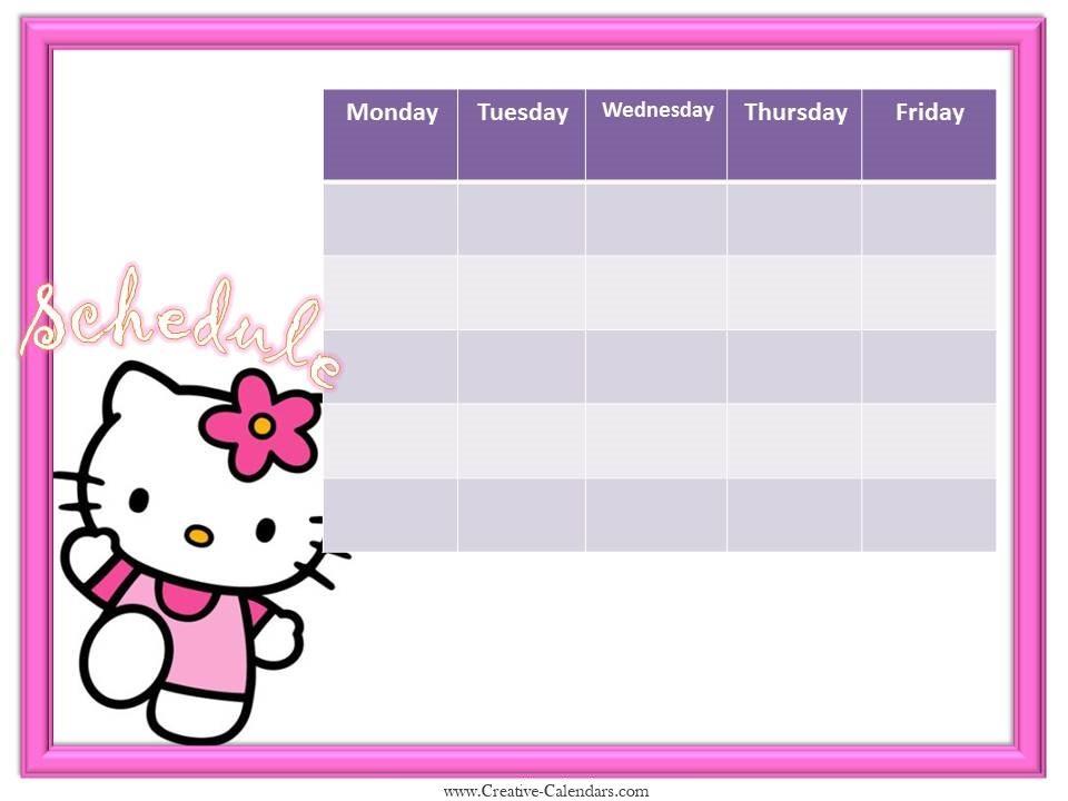 Hello Kitty weekly calendar template