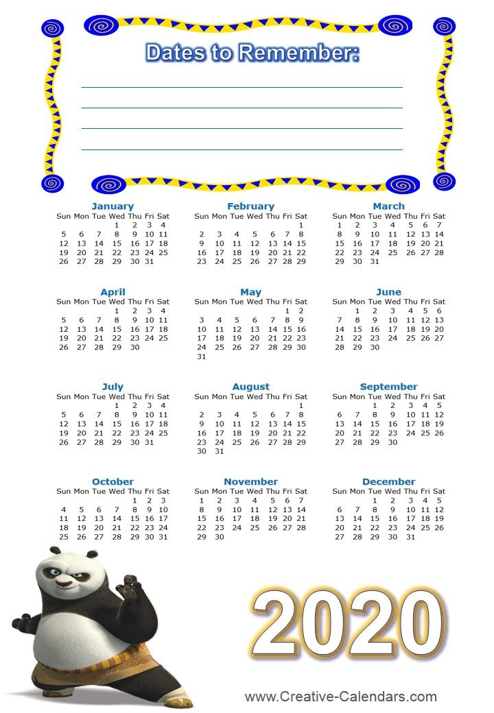 Free printable Kung Fu Calendars