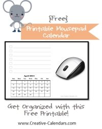 mousepad calendar free printable