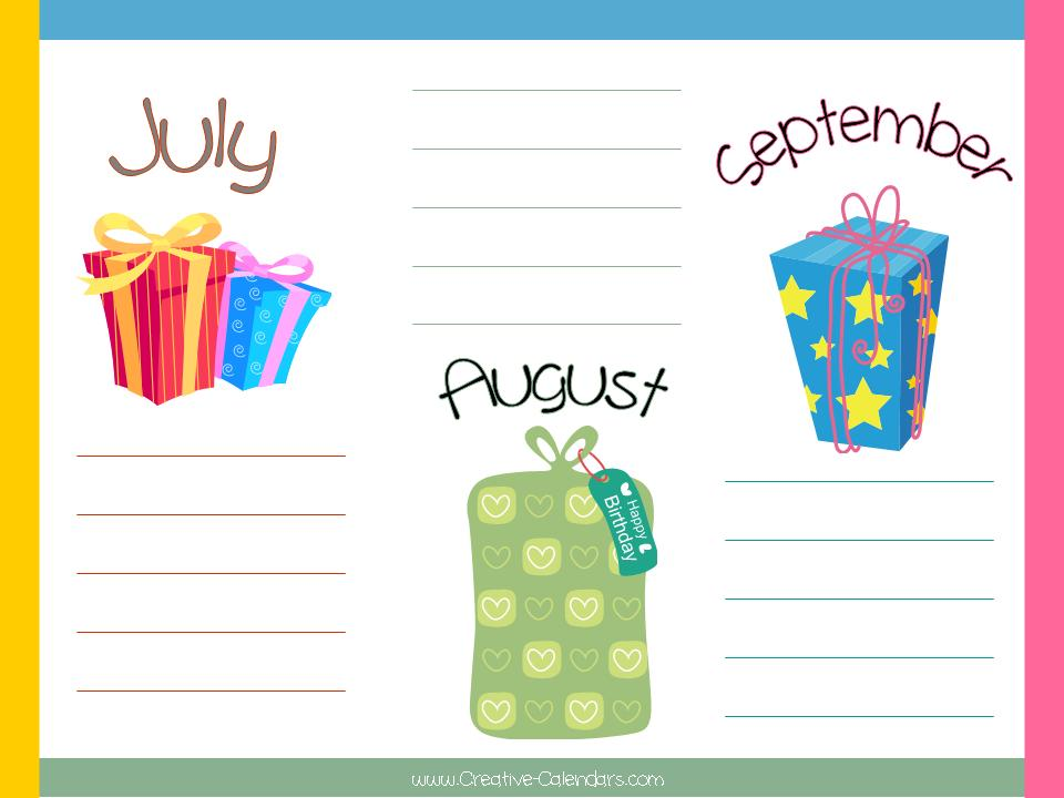 Free printable birthday calendar template printable birthday calendar with a colored border and lines to add birthday list maxwellsz