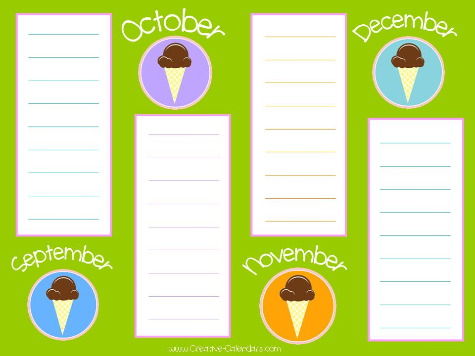 Free Printable Birthday Calendar Template