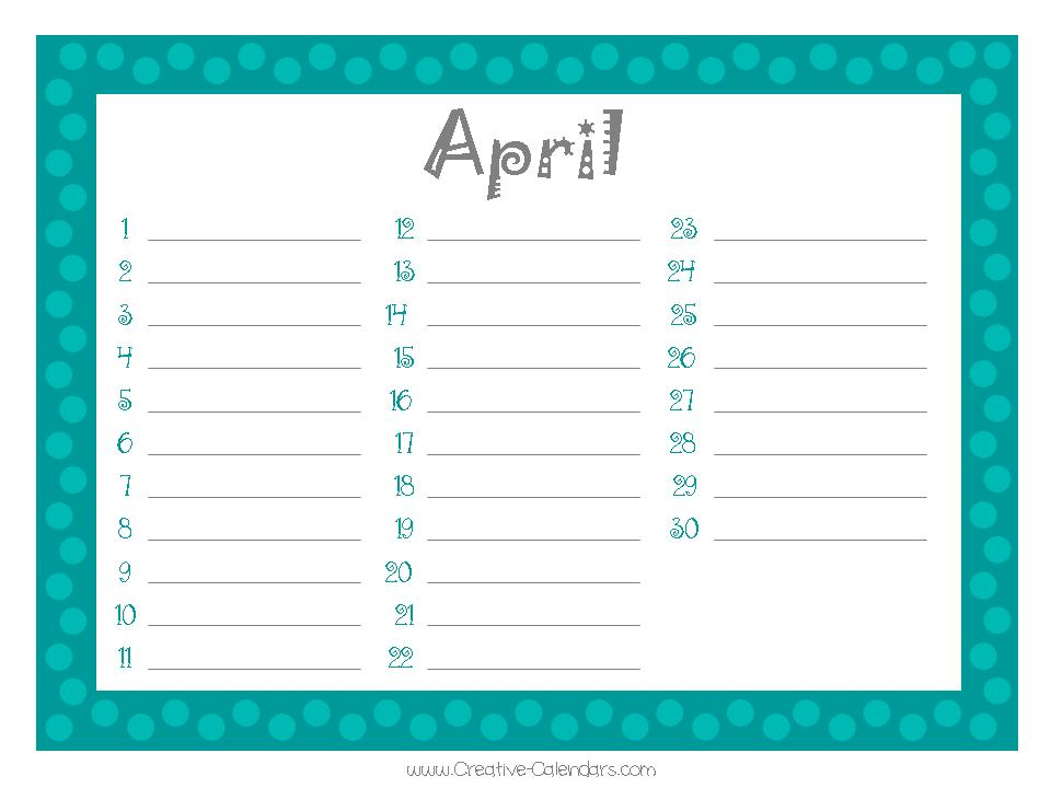 Printable Birthday Calendar Template