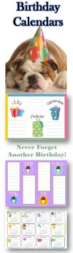 birthday calendars with a sample of those available on the site and a picture of a cute dog with a birthday hat