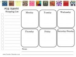 printable with grocery list and meals