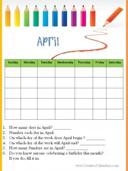April classroom calendar