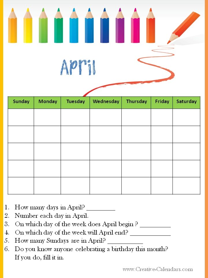 April Calendar Questions : Calendar worksheets