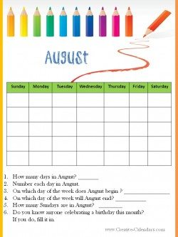 Calendar Worksheet August