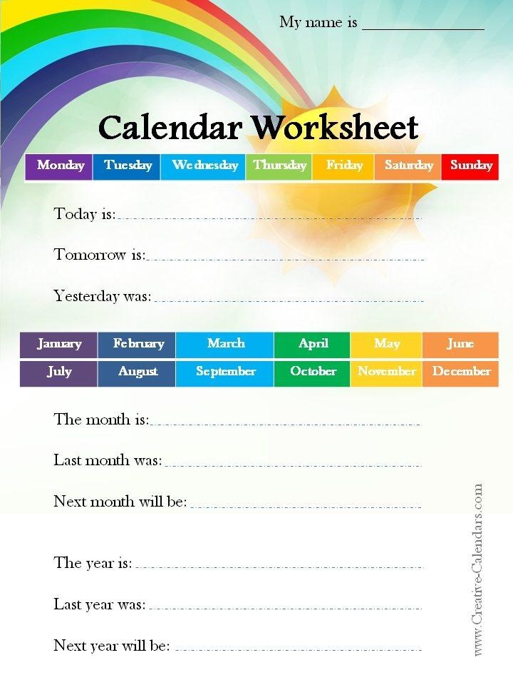 Calendar Worksheets – Calendar Worksheet