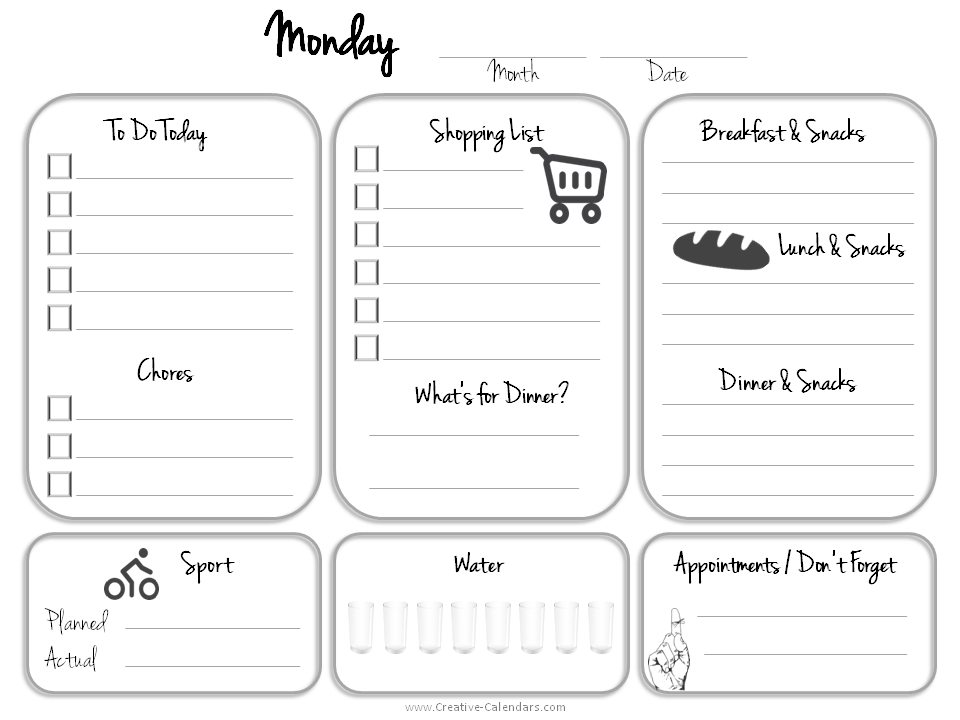 printable to do list printable planner printable daily calendar monday