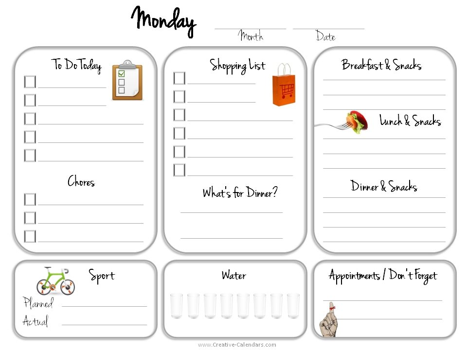 Monthly Calendar Design Creative : Daily planner template