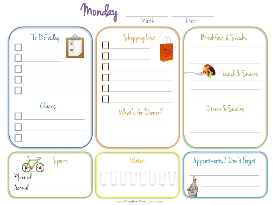 Monthly task list template