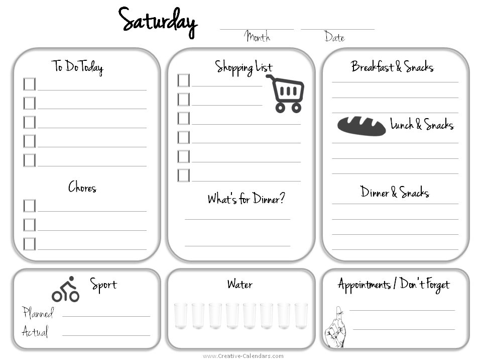 saturday to friday calendar template - daily planner template