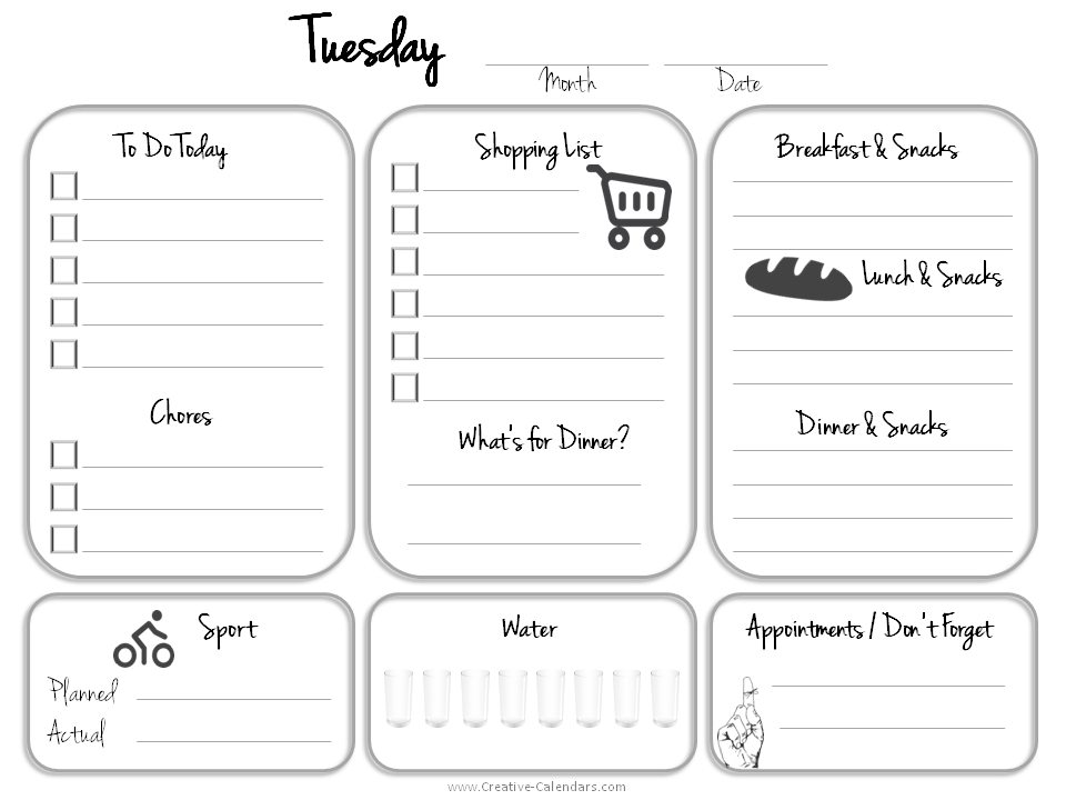 Daily planner printable for Tuesday