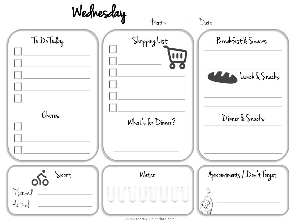 Daily Planner Template – Daily Calendar