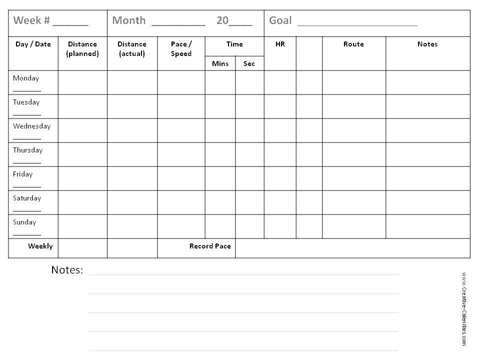 sample workout log