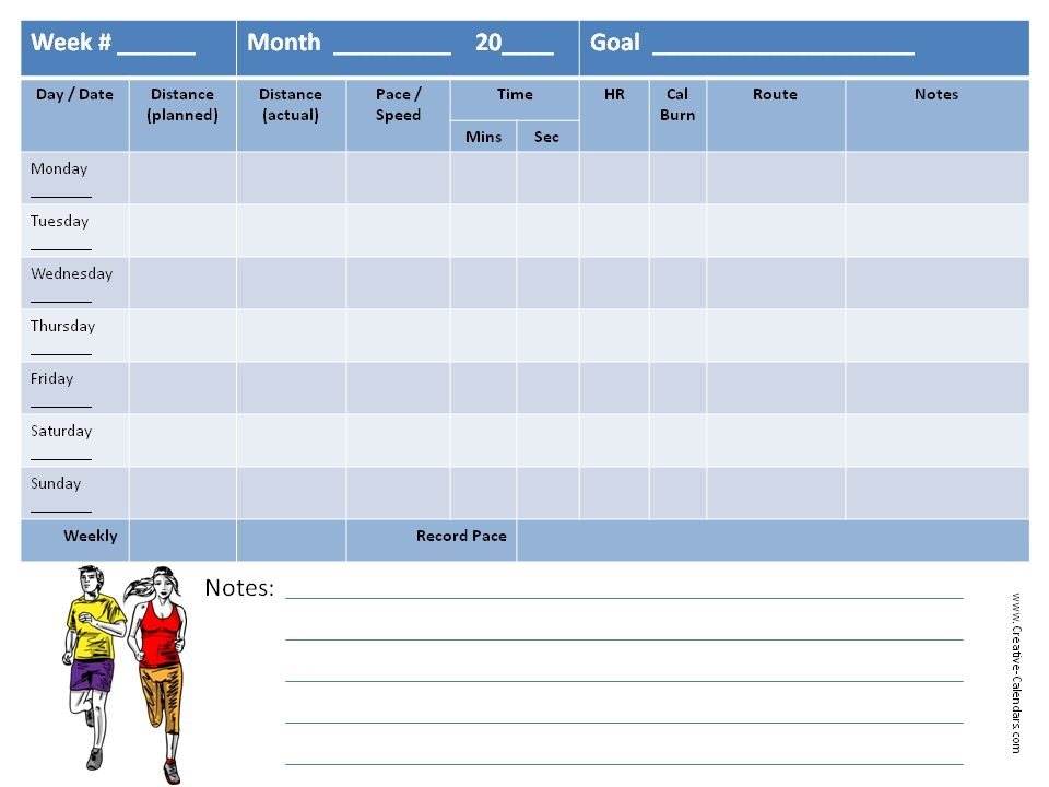 Running Log Template Half Marathon Training Plan For The Ultimate