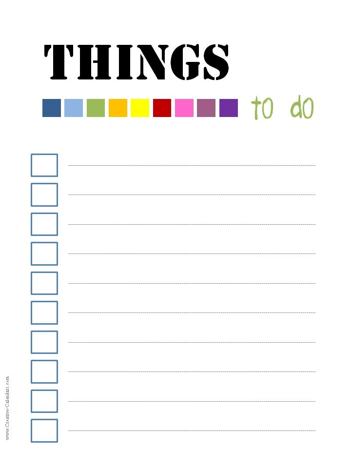 It is a picture of Declarative Printable Things to Do List