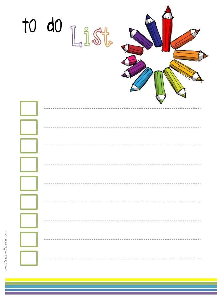 Calendar List Templates : To do list template