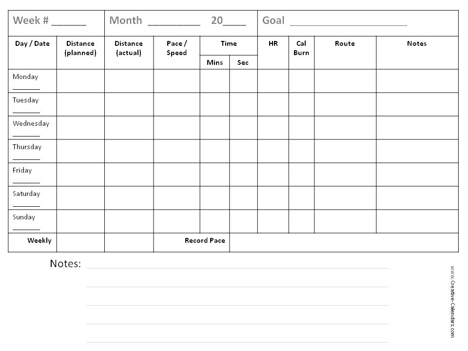 running training calendar template running log